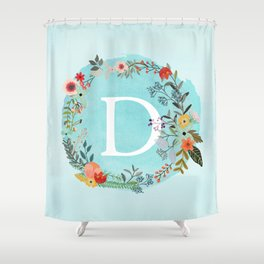 Personalized Monogram Initial Letter D Blue Watercolor Flower Wreath Artwork Shower Curtain