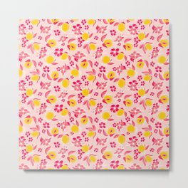 Juicy Apricots - modern abstract apricot fruit flowers pink and yellow Metal Print