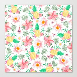 Tropical summer pink yellow watercolor flowers Canvas Print