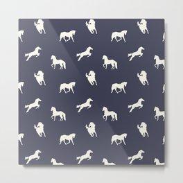 Horse Print (Navy Slate) Metal Print