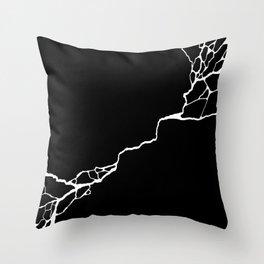 Diagonal Destroyed Dark Throw Pillow