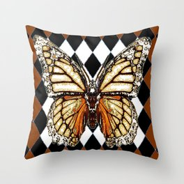 BLACK HARLEQUIN PATTERNED BROWN-WHITE  BUTTERFLY Throw Pillow