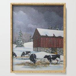 Holstein Dairy Cows in Snowy Barnyard; Winter Farm Scene Serving Tray
