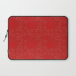 Bright ruby red fancy abstract love style pattern with fine golden hearts and bubbles Laptop Sleeve