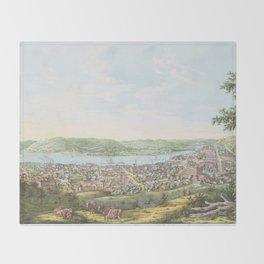 Vintage Pictorial Map of Wheeling WV (1854) Throw Blanket