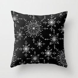 Winter Wonderland Snowflakes Black and White Throw Pillow