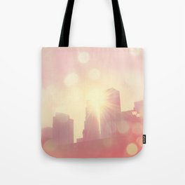 downtown Los Angeles skyline photograph. City of Lights Tote Bag