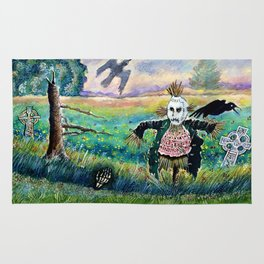 Halloween Field with Funny Scarecrow Skeleton Hand and Crows Rug