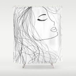 Sketch of a Girl. From my Coloring Book by Jodi Tomer. Curly Hair, Beautiful Girl Shower Curtain