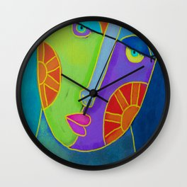 Funky Abstract Face Digital Painting  Wall Clock