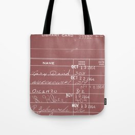Library Card 23322 Negative Red Tote Bag