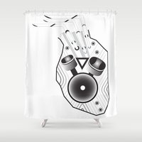 racing Shower Curtains featuring Racing Heart by visionalfreeman