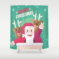 gift card Shower Curtains featuring Santa christmas card - green by Shirley Mejía