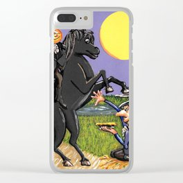 Head-less Horseman & IchabodCrane Exchanging Pumpkin For Pie Under Harvest Moon Clear iPhone Case