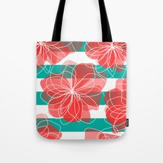 Camelia Coral and Turquoise Tote Bag