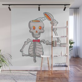 Funny skeleton with bowtie. Wall Mural