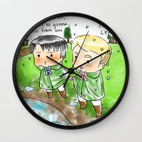 levi Wall Clocks featuring Chibi Levi and Chibi Erwin in the Rain by 0000