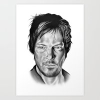 daryl Art Prints featuring Daryl Dixon by 13 Styx