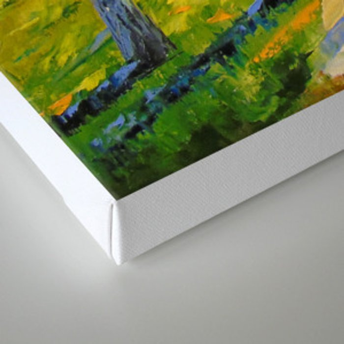 Road in a birch forest Canvas Print