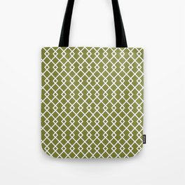 Olive Green Diamond Pattern Tote Bag
