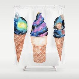 """Cosmic Cones"" watercolor galaxy illustration Shower Curtain"