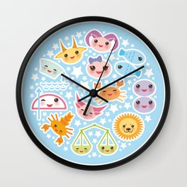 Funny Kawaii zodiac sign Wall Clock