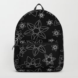 Star Flower Pattern Black and White Backpack