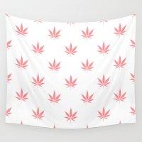 cannabis Wall Tapestries featuring Peachy Cannabis Pot Leaf Pattern by RexLambo