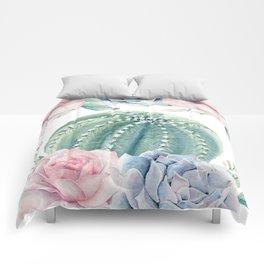 Cactus Rose Succulents Garden Comforters