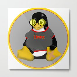 Linux sunglasses Metal Print