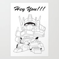transformer Art Prints featuring Hey You !!! Transformer Transparent Design by Timeless-Id