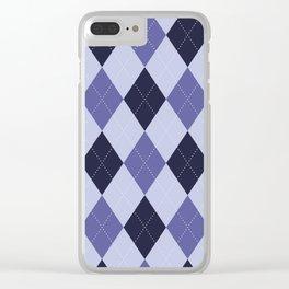 Blue Argyle Pattern Clear iPhone Case