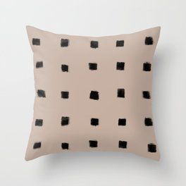 Polka Strokes Gapped - Black on Nude Throw Pillow