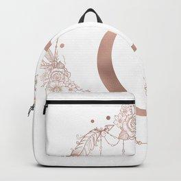 Letter O Rose Gold Pink Initial Monogram Backpack