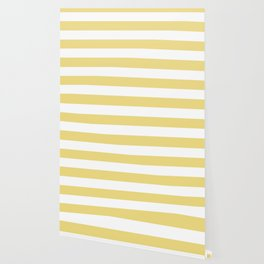 Buff - solid color - white stripes pattern Wallpaper
