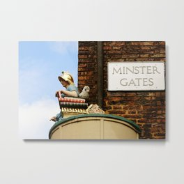 Minster gates and Minerva, the goddess of wisdom, in York, England Metal Print
