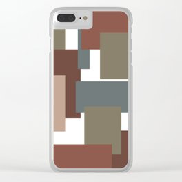 Blocked Brown Clear iPhone Case