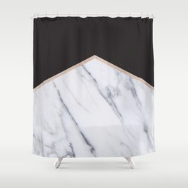 Gilded ebony and soft white marble Shower Curtain