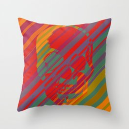 Skull - Color Stripes Throw Pillow