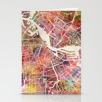amsterdam Stationery Cards featuring Amsterdam by MapMapMaps.Watercolors