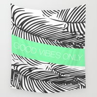 good vibes only Wall Tapestries featuring Good Vibes Only by Jenna Davis Designs