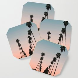California Sunset // Palm Tree Silhouette Street View Orange and Blue Color Sky Beach Photography Coaster