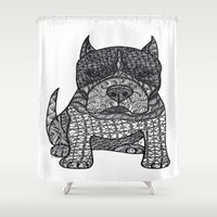 pitbull Shower Curtains featuring Devotion - American Pitbull Terrier by DiAnne Ferrer