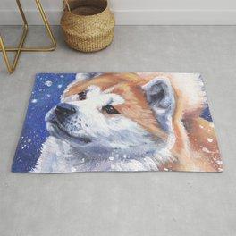 Akita inu Fine Art Dog Painting by L.A.Shepard Rug