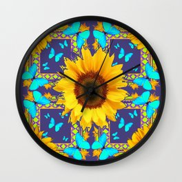 Turquoise Butterflies & Yellow Sunflower Puce-Grey Art Wall Clock