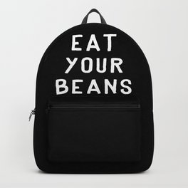Eat Your Beans - White on Black Backpack