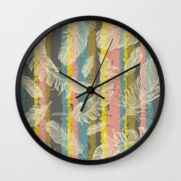 Feathers and Stripes Wall Clock
