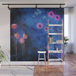 Abstract Vibrant Blue Flower Painting by Jodi Tomer. Blue, Abstract Wall Mural