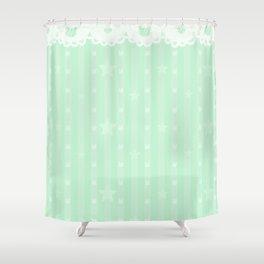 Kawaii Green Shower Curtain