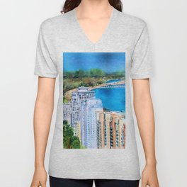 The Beauty of Long Beach from Above Unisex V-Neck